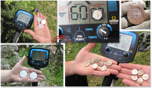 trouvailles et monnaies avec détecteur de métaux omega 8000