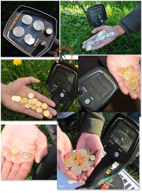 trouvailles et monnaies avec détecteur teknetics t2